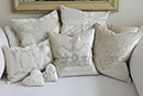 Luxury velvet hand-embroidered cushions. Boudoir effect