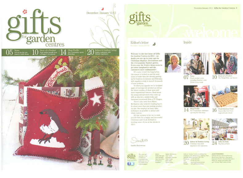 Gifts For Garden Centres December/January 2011- Front Cover